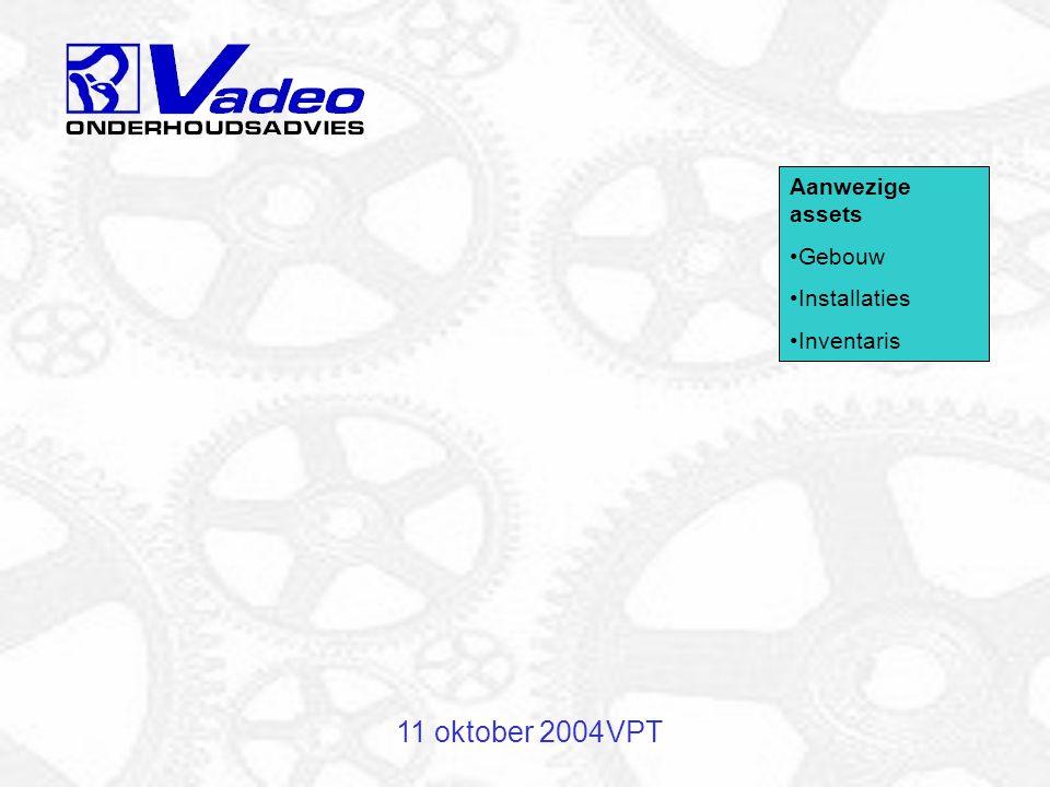 11 oktober 2004VPT Urgentie van werkzaamheden Storingen aan kritische installaties Storingen aan niet-kritische installaties Preventief onderhoud Administratie, werkvoorbereiding, bijhouden onderhoudsconcept