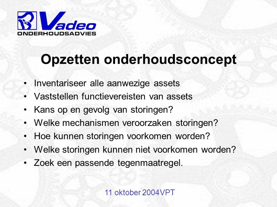 11 oktober 2004VPT Opzetten onderhoudsconcept Inventariseer alle aanwezige assets Vaststellen functievereisten van assets Kans op en gevolg van storingen.
