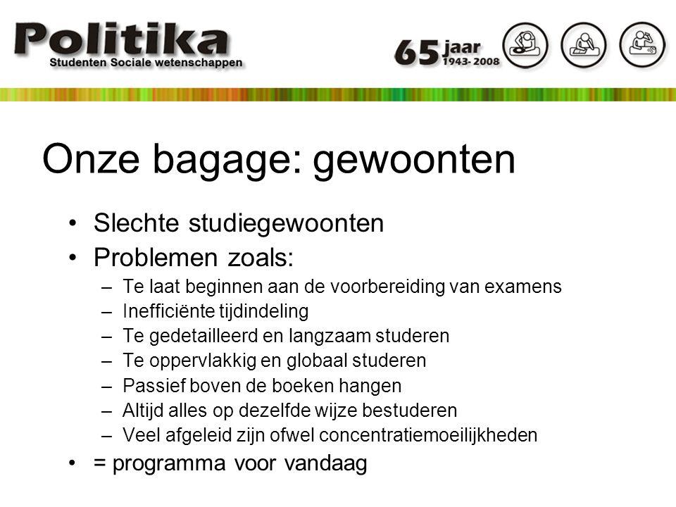Onze bagage: gewoonten Slechte studiegewoonten Problemen zoals: –Te laat beginnen aan de voorbereiding van examens –Inefficiënte tijdindeling –Te gede