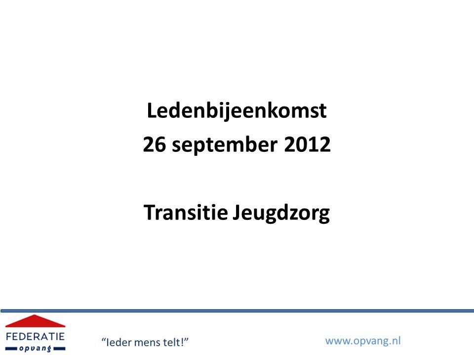 Transitie jeugdzorg Onderwerpen 1.Onderdelen van de transitie 2.Planning 3.Knelpunten voor de MO/VO 4.Randvoorwaarden 5.Discussievragen