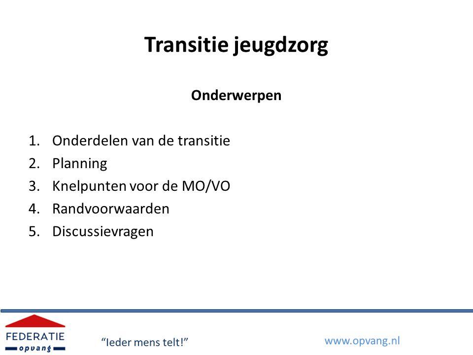Transitie Jeugdzorg Regeerakkoord oktober 2010: besluit Kabinet Rutte om de bestuurlijke en financiële verantwoordelijkheid voor alle jeugdzorg te decentraliseren naar gemeenten: 'ontspecialiseren' (ontzorgen) en 'ontkokeren' (integraliteit).
