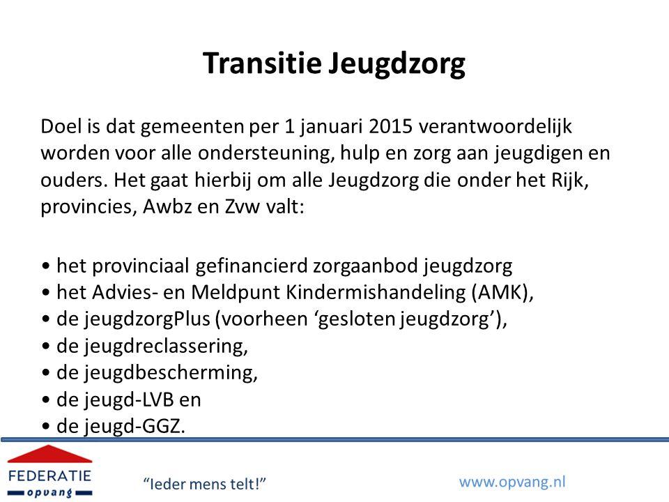 Transitie Jeugdzorg – twee onderdelen Transitie: veranderingen in de structuur van de jeugdzorg (bestuurlijk en financieel) Neergelegd in de Transitieagenda Jeugdzorg Verantwoordelijkheid bij overheden (Rijk, VNG en IPO).