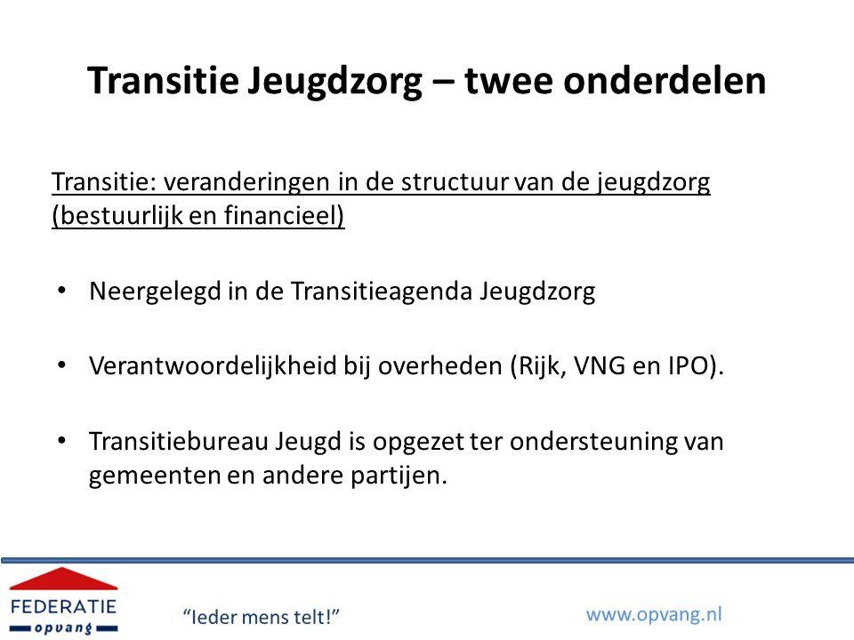 Transitie Jeugdzorg – twee onderdelen Transitie: veranderingen in de structuur van de jeugdzorg (bestuurlijk en financieel) Neergelegd in de Transitie