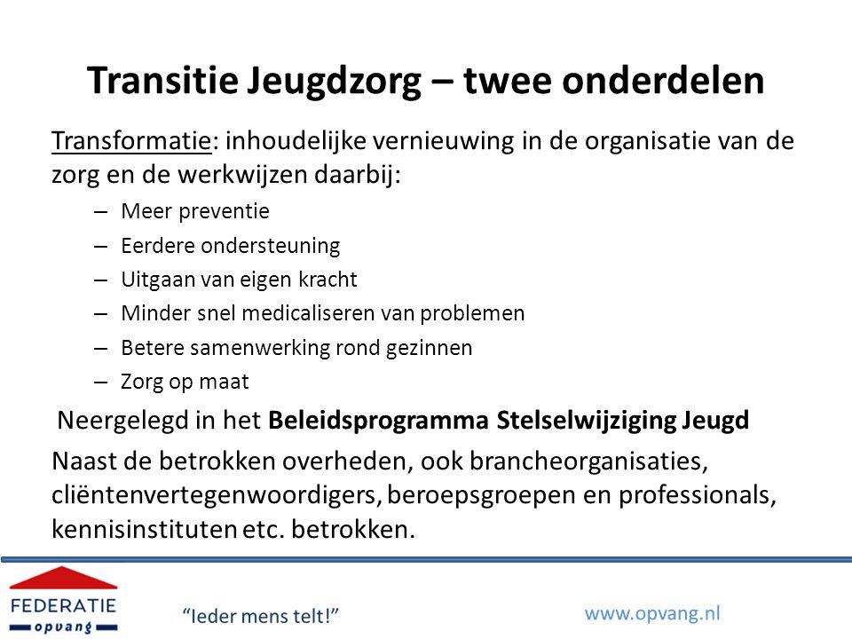 Transitie Jeugdzorg – twee onderdelen Transformatie: inhoudelijke vernieuwing in de organisatie van de zorg en de werkwijzen daarbij: – Meer preventie