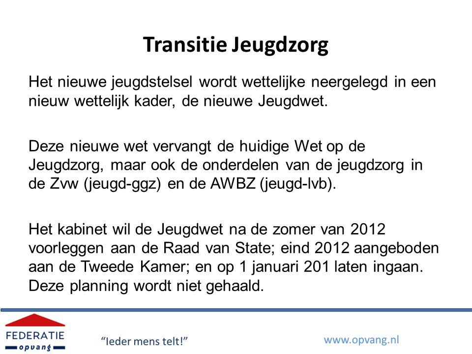 Transitie Jeugdzorg Het nieuwe jeugdstelsel wordt wettelijke neergelegd in een nieuw wettelijk kader, de nieuwe Jeugdwet. Deze nieuwe wet vervangt de