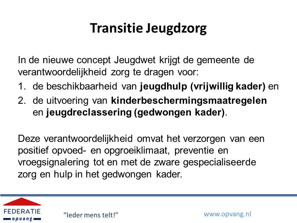 Transitie Jeugdzorg In de nieuwe concept Jeugdwet krijgt de gemeente de verantwoordelijkheid zorg te dragen voor: 1.de beschikbaarheid van jeugdhulp (