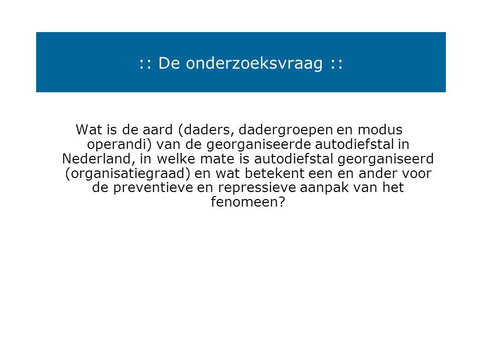 :: Georganiseerde Autodiefstal :: Kenmerken en achtergronden in beeld AVc - Congres Utrecht 8 april 2005 Henk Ferwerda