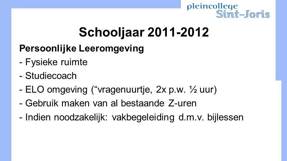 Schooljaar 2011-2012 Persoonlijke Leeromgeving - Fysieke ruimte - Studiecoach - ELO omgeving ( vragenuurtje, 2x p.w.