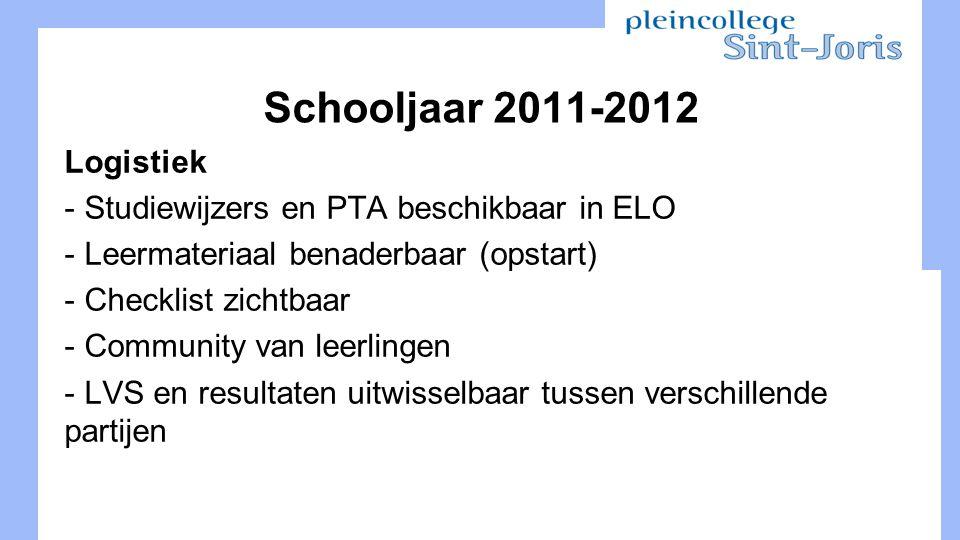 Schooljaar 2011-2012 Logistiek - Studiewijzers en PTA beschikbaar in ELO - Leermateriaal benaderbaar (opstart) - Checklist zichtbaar - Community van leerlingen - LVS en resultaten uitwisselbaar tussen verschillende partijen