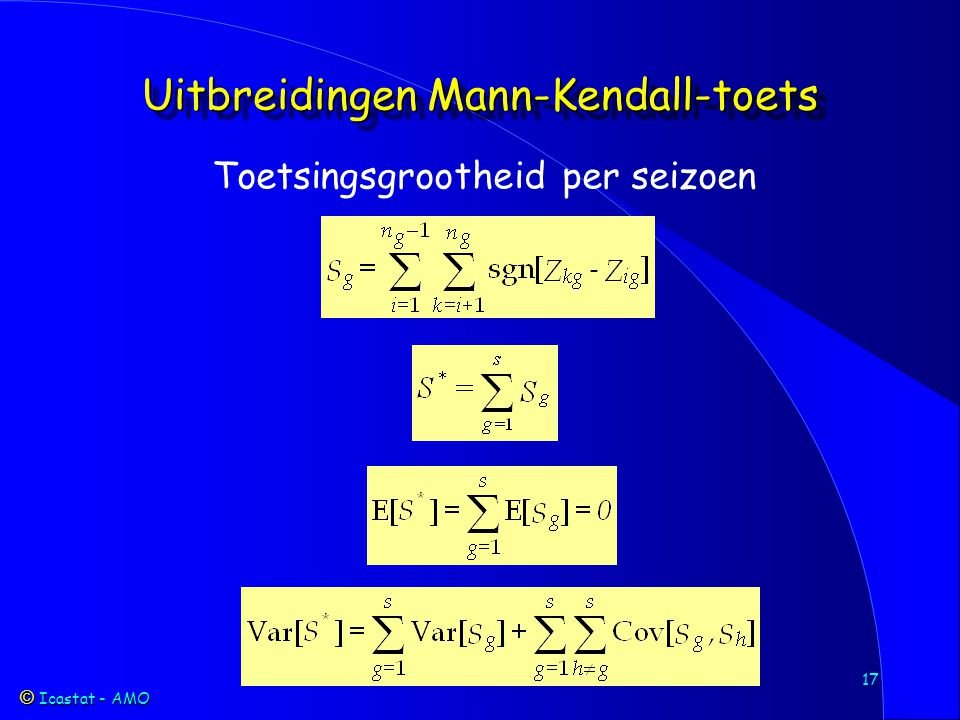Icastat - AMO Icastat - AMO 17 Uitbreidingen Mann-Kendall-toets Toetsingsgrootheid per seizoen
