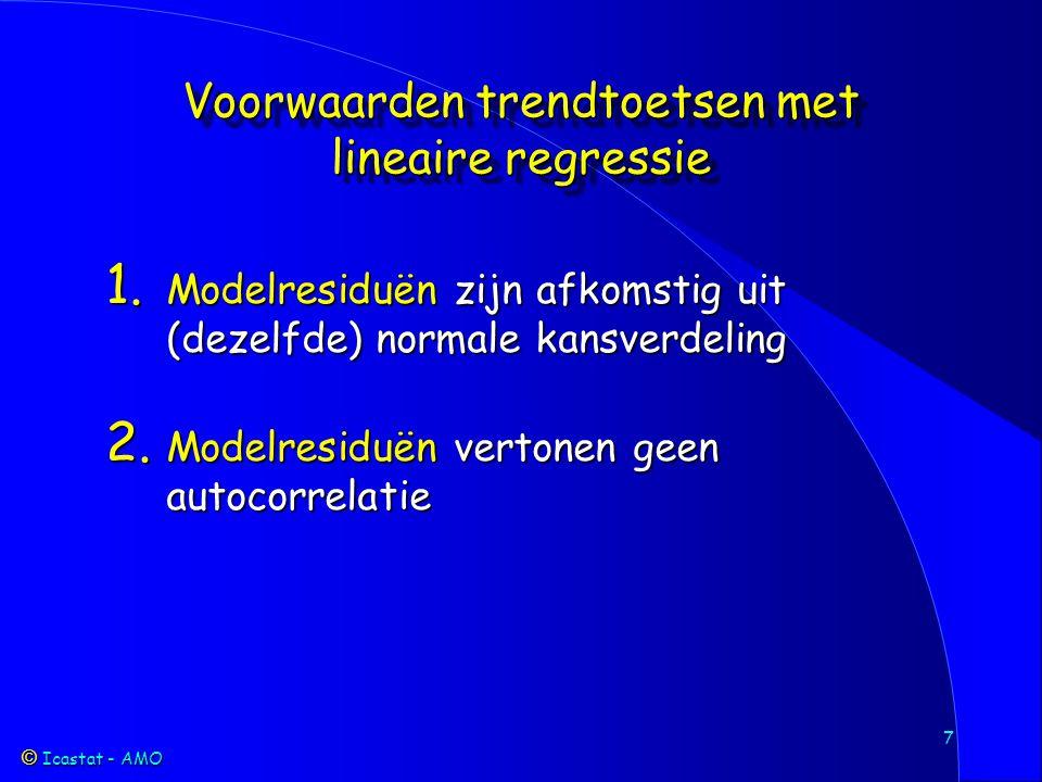 Icastat - AMO Icastat - AMO 18 Toetsen op monotone trend Parametrisch Lineaire regressie | +s | +a | +sa | Verdelingsvrij Mann-Kendall | +s | +a | +sa | Spearman | +s | Lettenmaier | +a | +sa | Farrell | +s | Wanneer welke toets gebruiken?