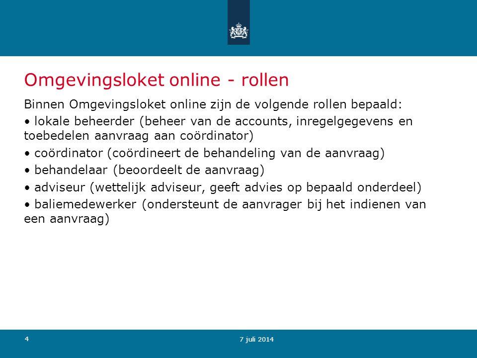 25 8 juli 2014 Aanvraag - vooroverleg Status Concept': Omgevingsloket online biedt de aanvrager (of baliemedewerker) in deze fase de mogelijkheid om: (Voor-)overleg aan te vragen met bevoegd gezag en betrokkenen.