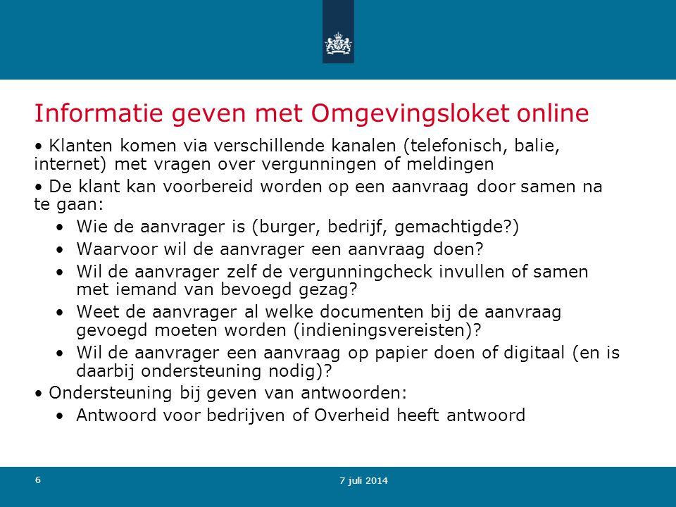 17 8 juli 2014 Uitkomst in pdf Resultaat van de vergunningcheck in pdf Dit kan de aanvrager gebruiken in het vooroverleg met bevoegd gezag