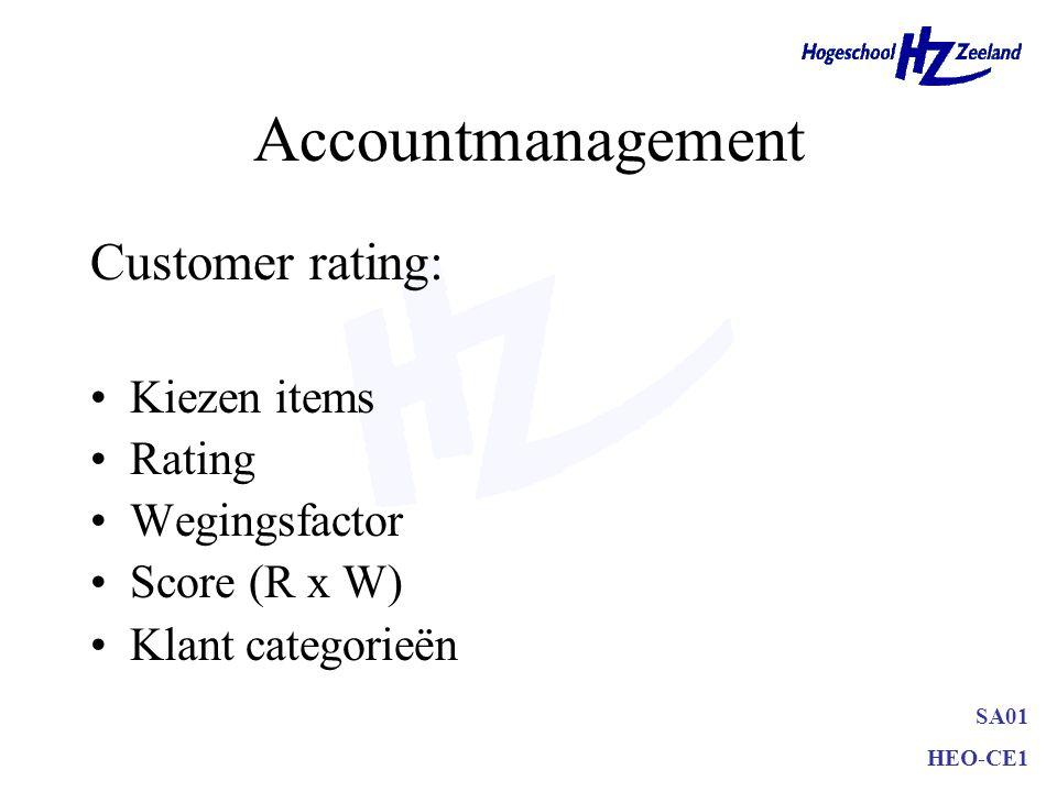 SA01 HEO-CE1 Accountmanagement Customer rating: Kiezen items Rating Wegingsfactor Score (R x W) Klant categorieën