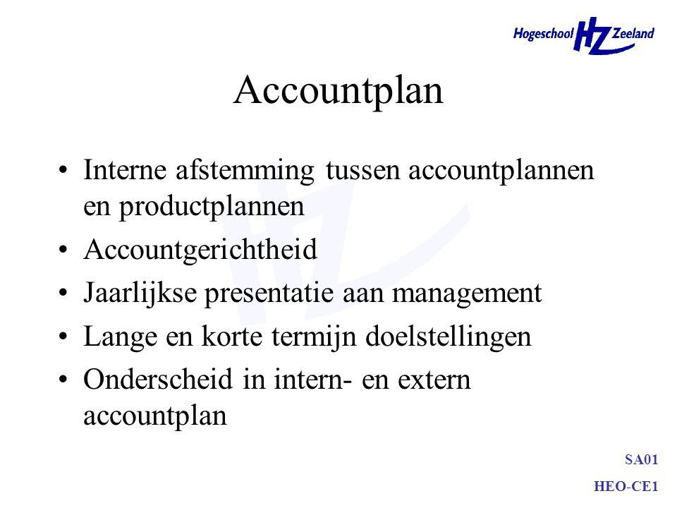 SA01 HEO-CE1 Accountplan Interne afstemming tussen accountplannen en productplannen Accountgerichtheid Jaarlijkse presentatie aan management Lange en