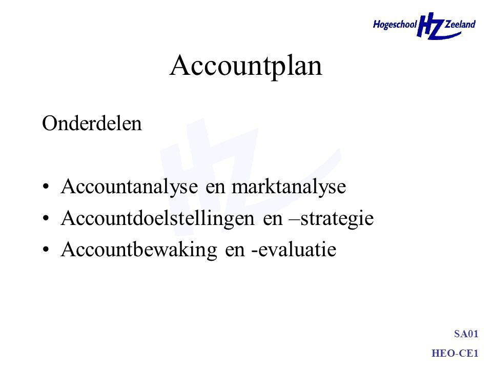 SA01 HEO-CE1 Accountplan Onderdelen Accountanalyse en marktanalyse Accountdoelstellingen en –strategie Accountbewaking en -evaluatie