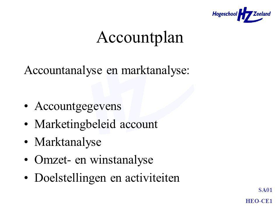 SA01 HEO-CE1 Accountplan Accountanalyse en marktanalyse: Accountgegevens Marketingbeleid account Marktanalyse Omzet- en winstanalyse Doelstellingen en