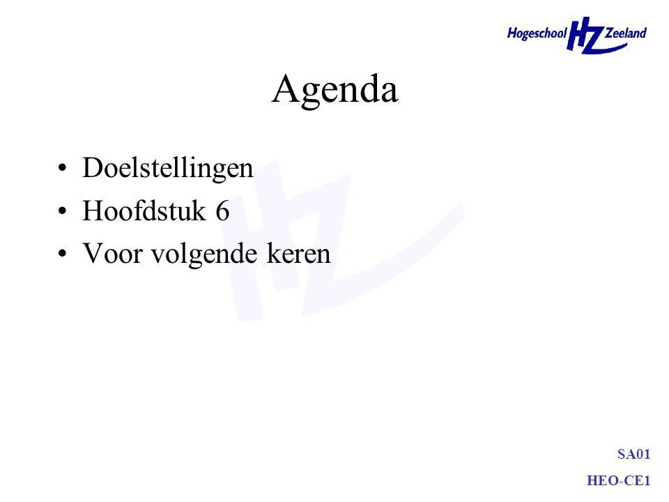 SA01 HEO-CE1 Agenda Doelstellingen Hoofdstuk 6 Voor volgende keren