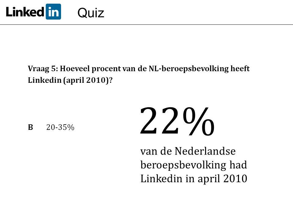 Quiz Vraag 5: Hoeveel procent van de NL-beroepsbevolking heeft Linkedin (april 2010)? B20-35% 22% van de Nederlandse beroepsbevolking had Linkedin in