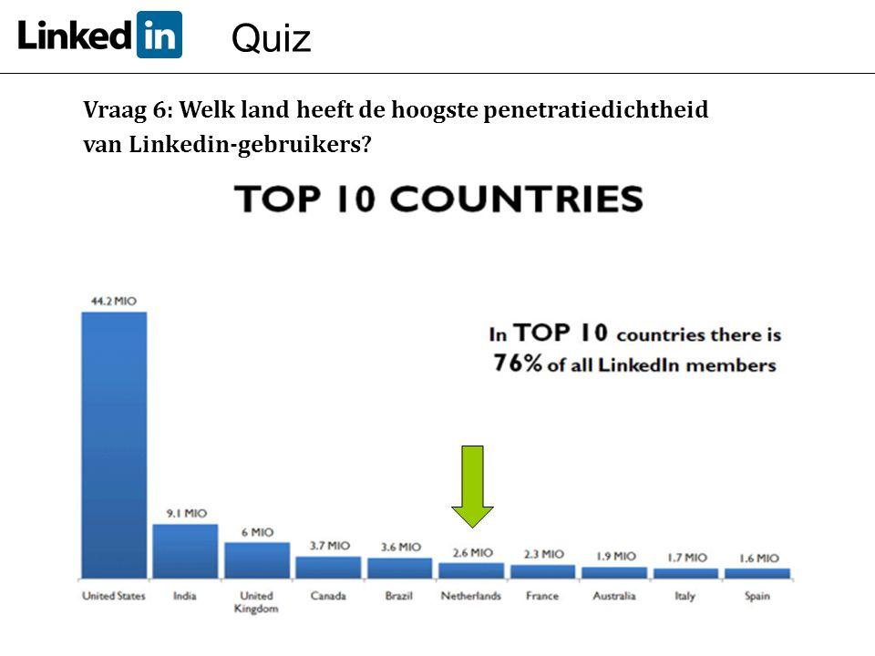 Quiz Vraag 6: Welk land heeft de hoogste penetratiedichtheid van Linkedin-gebruikers?