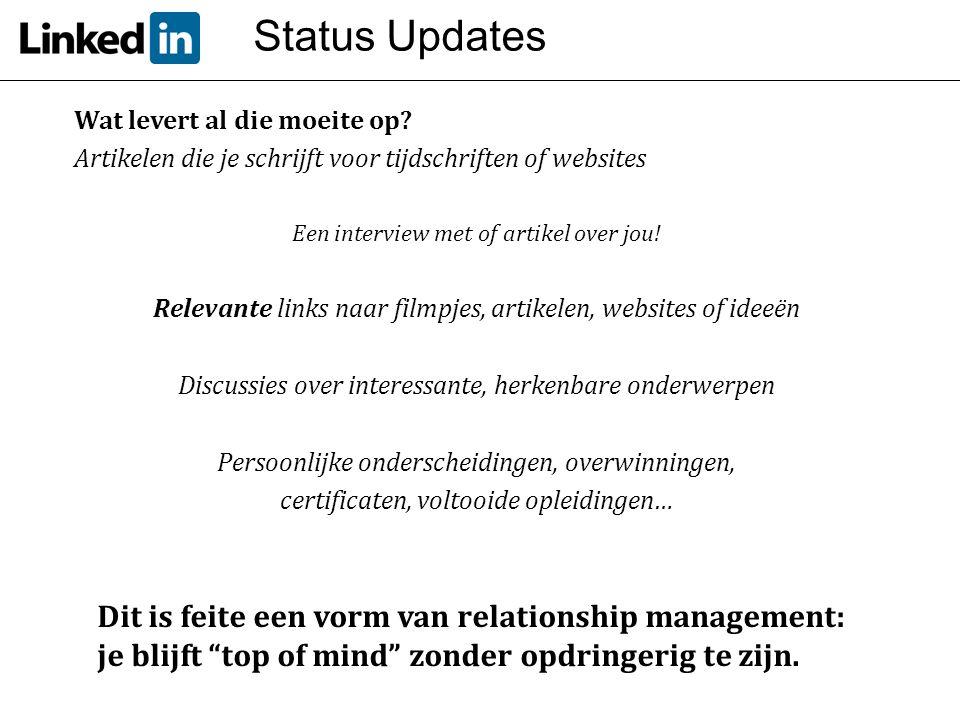 Status Updates Wat levert al die moeite op? Artikelen die je schrijft voor tijdschriften of websites Een interview met of artikel over jou! Relevante