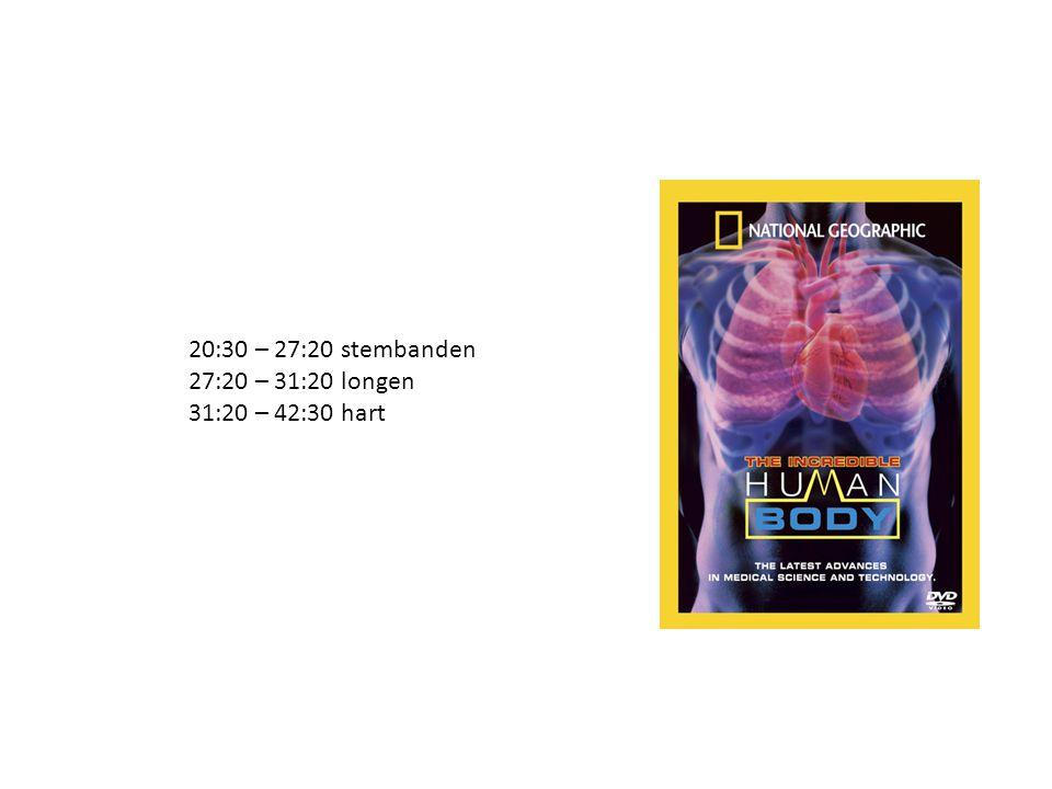 20:30 – 27:20 stembanden 27:20 – 31:20 longen 31:20 – 42:30 hart