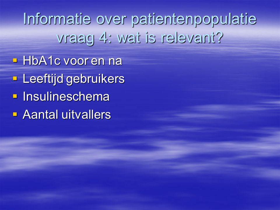 Informatie over patientenpopulatie vraag 4: wat is relevant.