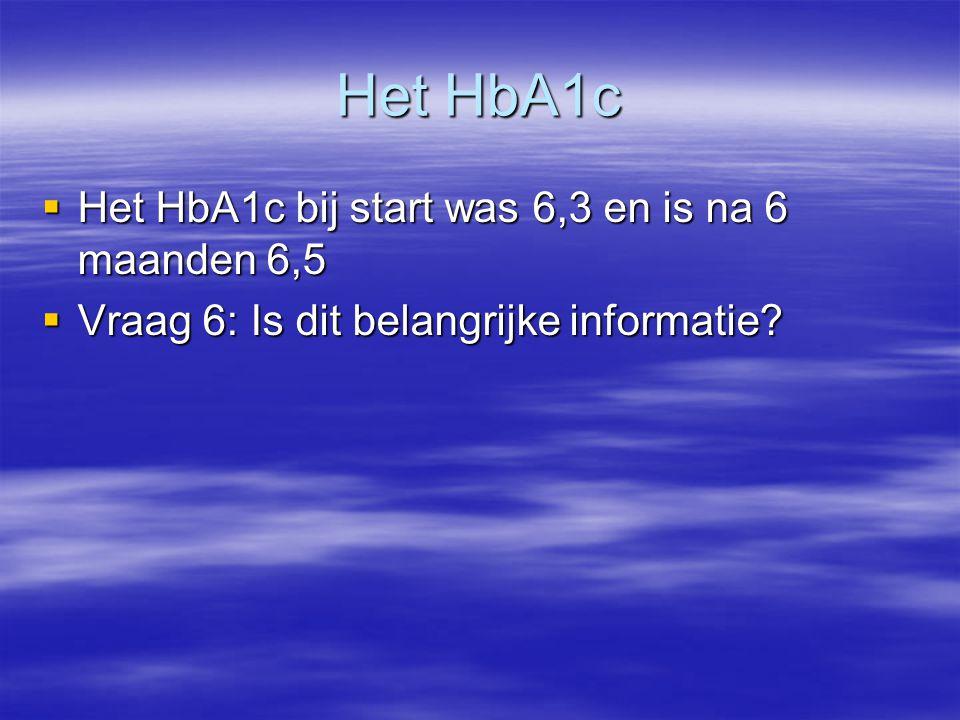 Het HbA1c  Het HbA1c bij start was 6,3 en is na 6 maanden 6,5  Vraag 6: Is dit belangrijke informatie?