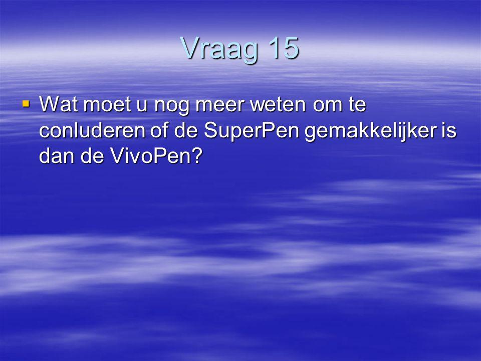Vraag 15  Wat moet u nog meer weten om te conluderen of de SuperPen gemakkelijker is dan de VivoPen?
