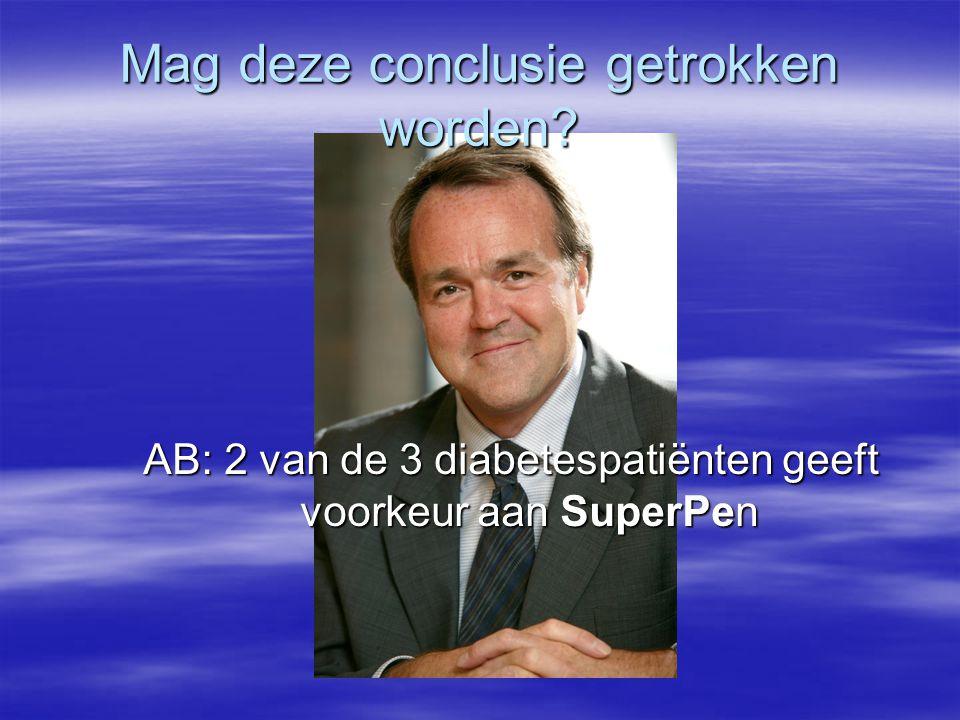 AB: 2 van de 3 diabetespatiënten geeft voorkeur aan SuperPen Mag deze conclusie getrokken worden?