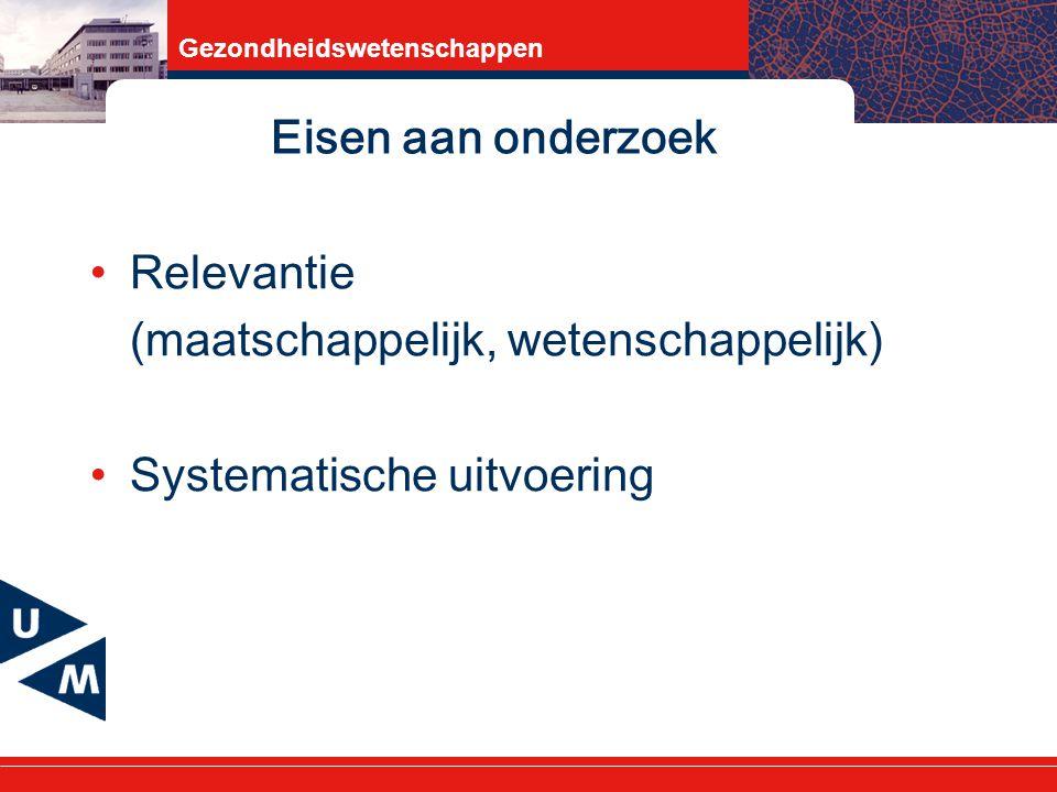 Gezondheidswetenschappen Eisen aan onderzoek Relevantie (maatschappelijk, wetenschappelijk) Systematische uitvoering