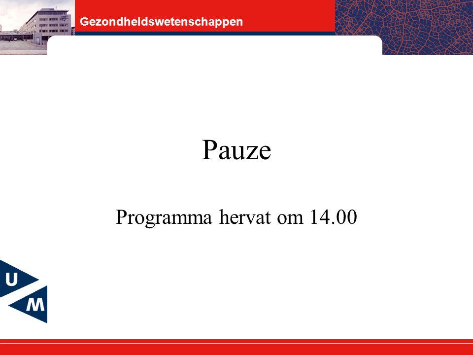 Gezondheidswetenschappen Pauze Programma hervat om 14.00