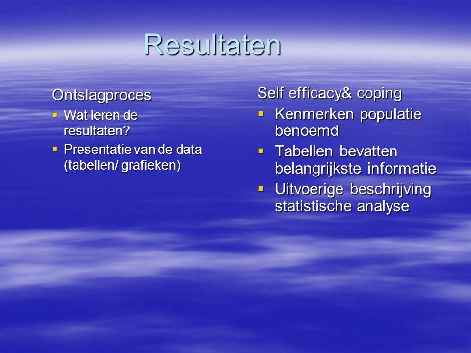 Resultaten Ontslagproces  Wat leren de resultaten.