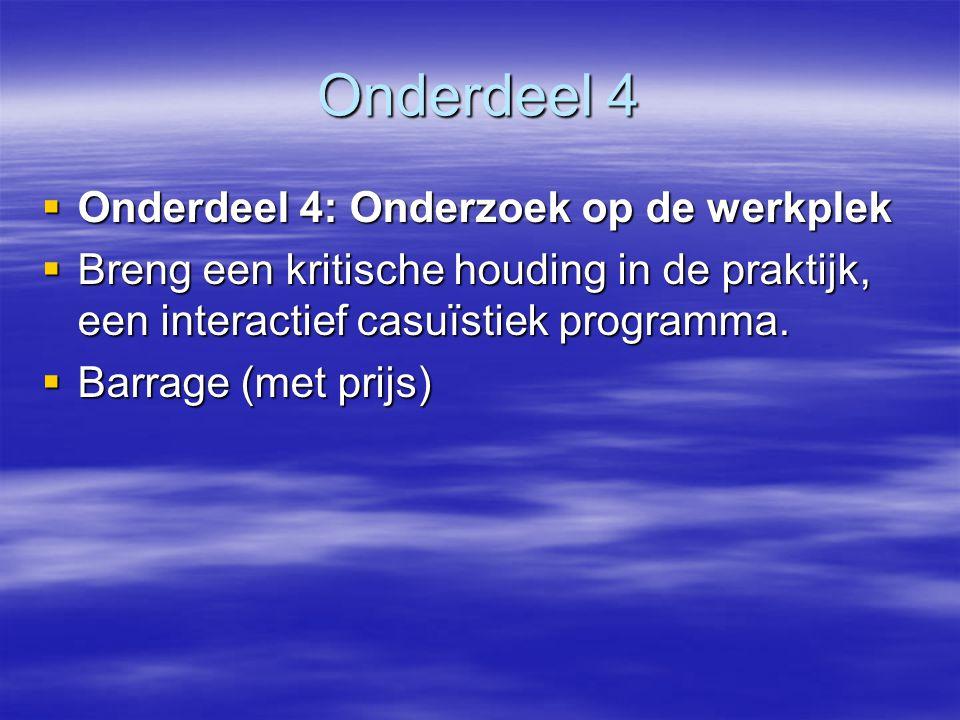 Onderdeel 4  Onderdeel 4: Onderzoek op de werkplek  Breng een kritische houding in de praktijk, een interactief casuïstiek programma.