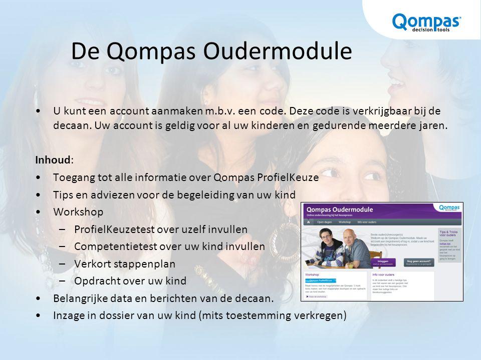 De Qompas Oudermodule U kunt een account aanmaken m.b.v.