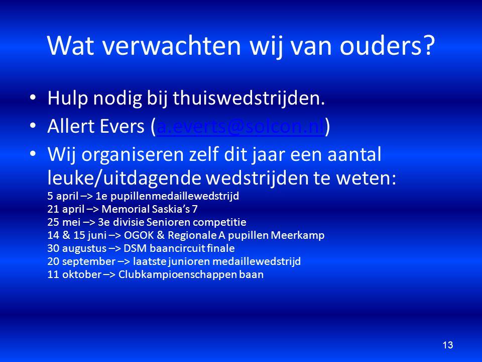 Wat verwachten wij van ouders? Hulp nodig bij thuiswedstrijden. Allert Evers (a.everts@solcon.nl)a.everts@solcon.nl Wij organiseren zelf dit jaar een