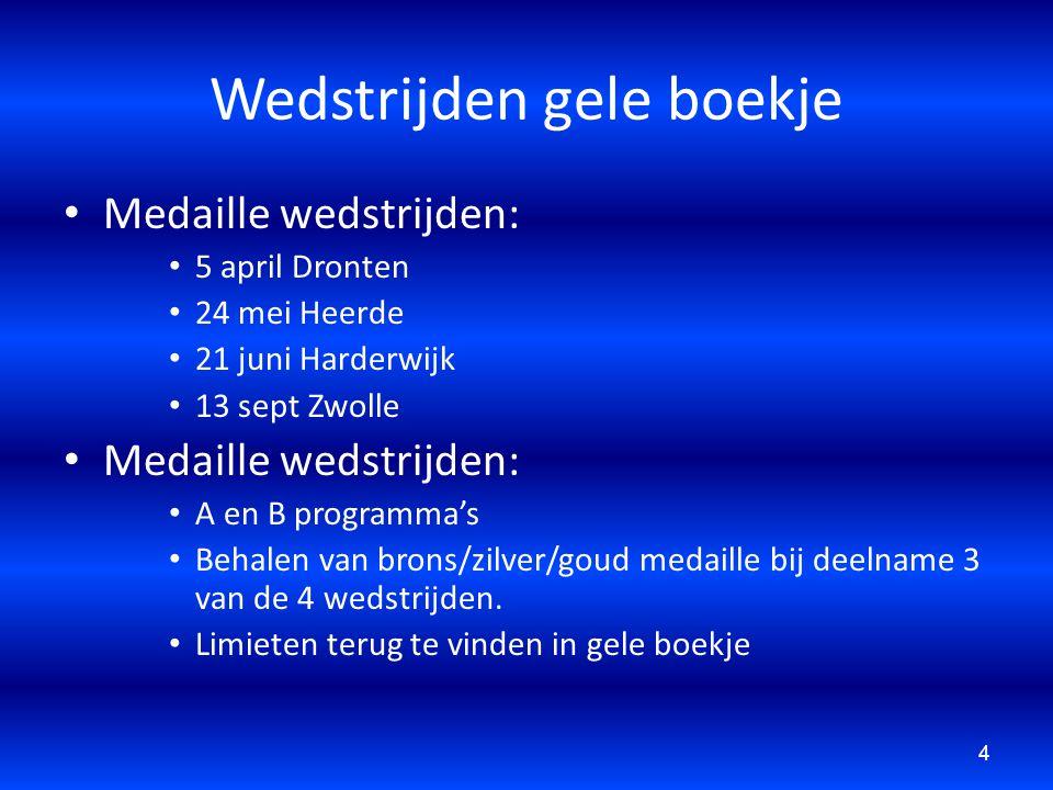 Wedstrijden gele boekje Medaille wedstrijden: 5 april Dronten 24 mei Heerde 21 juni Harderwijk 13 sept Zwolle Medaille wedstrijden: A en B programma's
