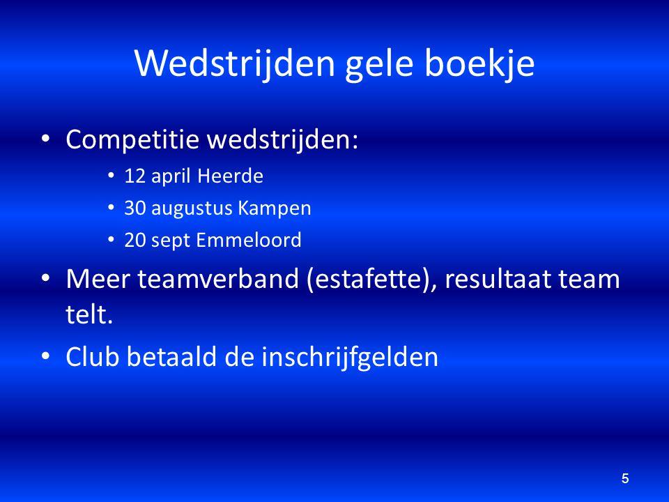 Wedstrijden gele boekje Competitie wedstrijden: 12 april Heerde 30 augustus Kampen 20 sept Emmeloord Meer teamverband (estafette), resultaat team telt