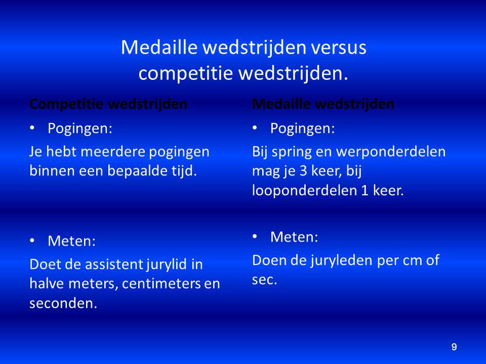 Medaille wedstrijden versus competitie wedstrijden. Competitie wedstrijden Pogingen: Je hebt meerdere pogingen binnen een bepaalde tijd. Meten: Doet d