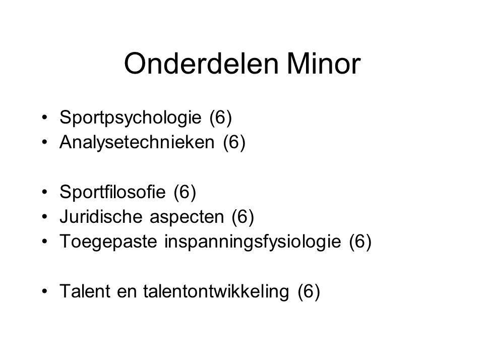 Onderdelen Minor Sportpsychologie (6) Analysetechnieken (6) Sportfilosofie (6) Juridische aspecten (6) Toegepaste inspanningsfysiologie (6) Talent en