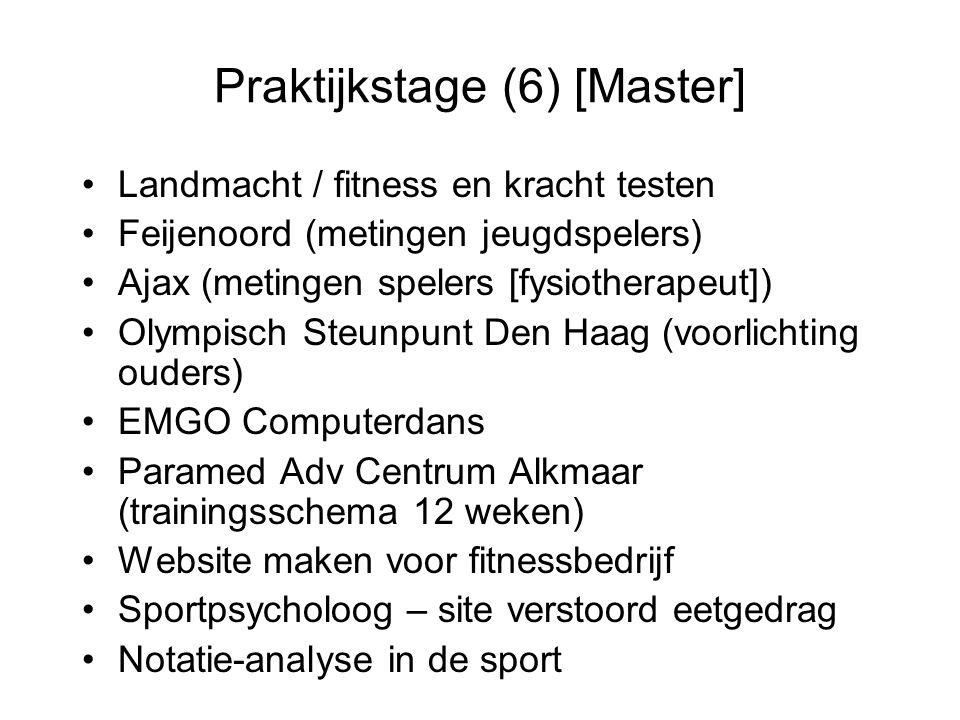 Praktijkstage (6) [Master] Landmacht / fitness en kracht testen Feijenoord (metingen jeugdspelers) Ajax (metingen spelers [fysiotherapeut]) Olympisch