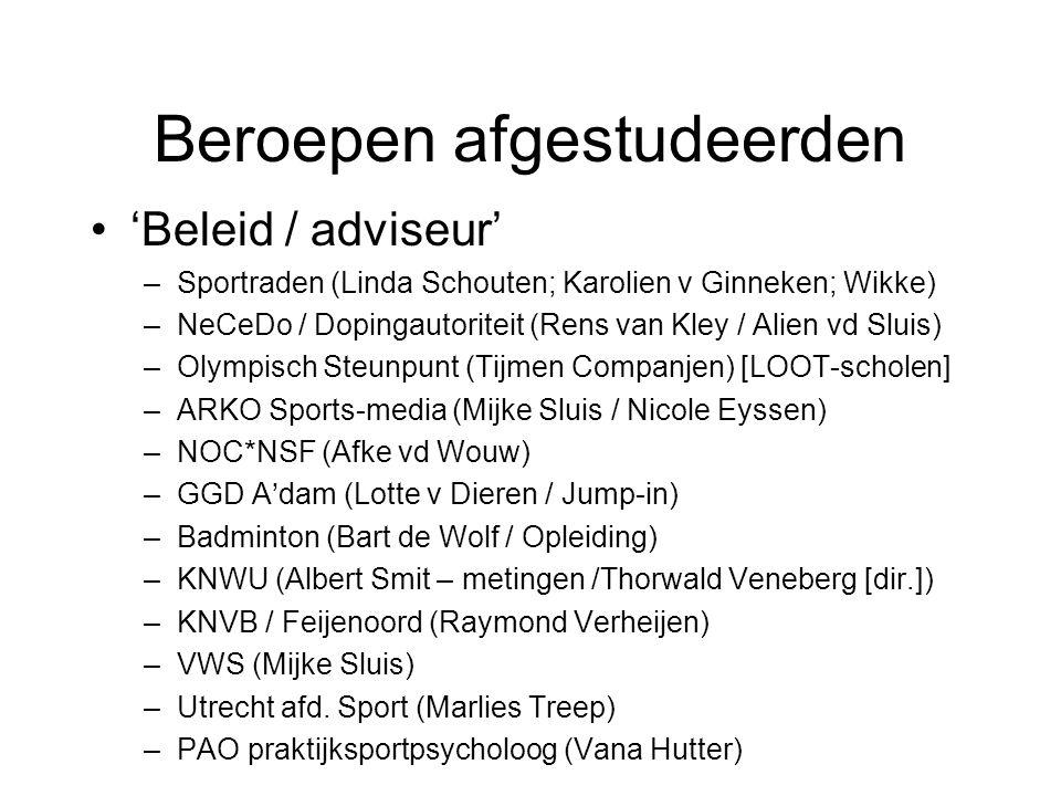'Beleid / adviseur' –Sportraden (Linda Schouten; Karolien v Ginneken; Wikke) –NeCeDo / Dopingautoriteit (Rens van Kley / Alien vd Sluis) –Olympisch Steunpunt (Tijmen Companjen) [LOOT-scholen] –ARKO Sports-media (Mijke Sluis / Nicole Eyssen) –NOC*NSF (Afke vd Wouw) –GGD A'dam (Lotte v Dieren / Jump-in) –Badminton (Bart de Wolf / Opleiding) –KNWU (Albert Smit – metingen /Thorwald Veneberg [dir.]) –KNVB / Feijenoord (Raymond Verheijen) –VWS (Mijke Sluis) –Utrecht afd.