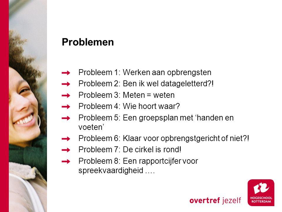 Problemen Probleem 1: Werken aan opbrengsten Probleem 2: Ben ik wel datageletterd?! Probleem 3: Meten = weten Probleem 4: Wie hoort waar? Probleem 5: