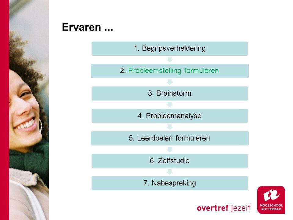 Ervaren... 1. Begripsverheldering2. Probleemstelling formuleren3. Brainstorm4. Probleemanalyse5. Leerdoelen formuleren6. Zelfstudie7. Nabespreking