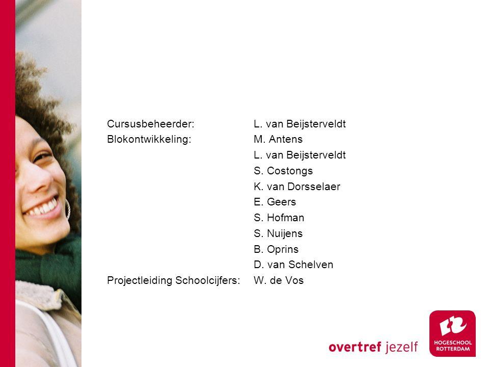 Cursusbeheerder: L.van Beijsterveldt Blokontwikkeling: M.