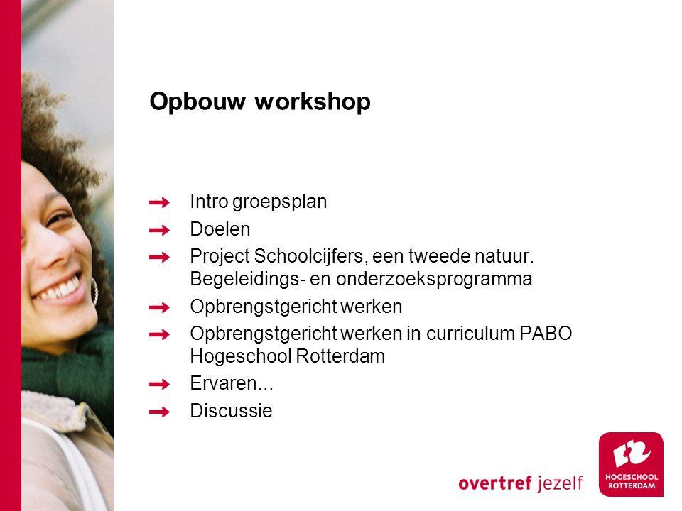 Opbouw workshop Intro groepsplan Doelen Project Schoolcijfers, een tweede natuur. Begeleidings- en onderzoeksprogramma Opbrengstgericht werken Opbreng