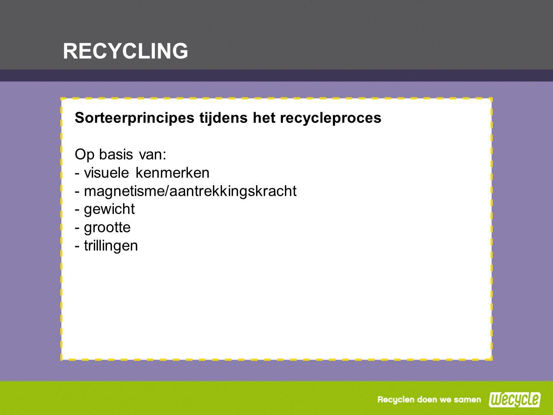RECYCLING Sorteerprincipes tijdens het recycleproces Op basis van: - visuele kenmerken - magnetisme/aantrekkingskracht - gewicht - grootte - trillinge