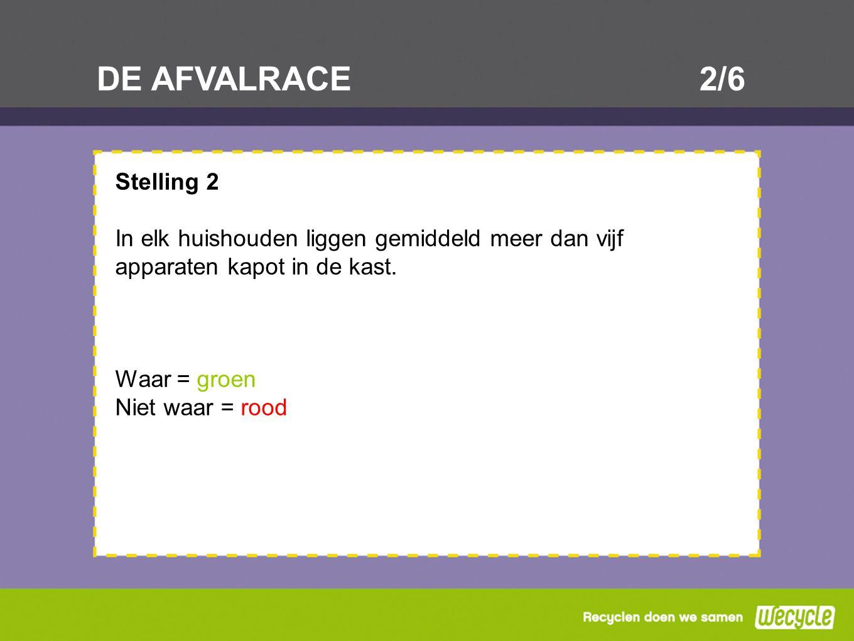 DE AFVALRACE2/6 Stelling 2 In elk huishouden liggen gemiddeld meer dan vijf apparaten kapot in de kast. Waar = groen Niet waar = rood