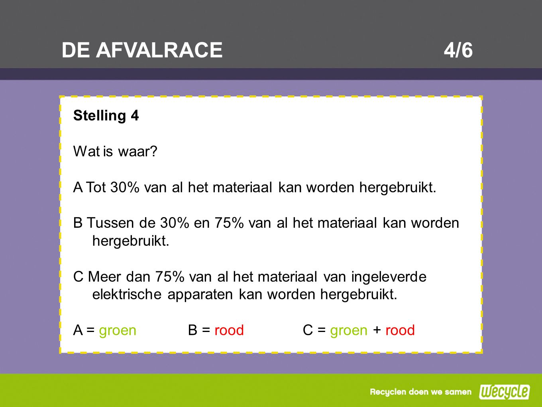 DE AFVALRACE4/6 Stelling 4 Wat is waar? A Tot 30% van al het materiaal kan worden hergebruikt. B Tussen de 30% en 75% van al het materiaal kan worden