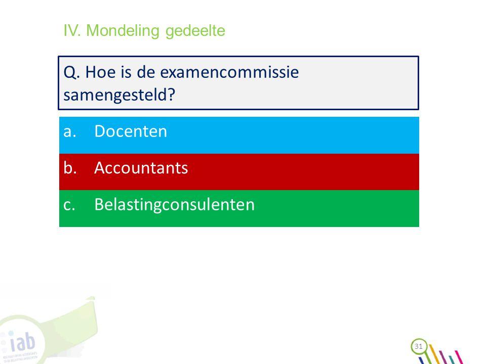 Q. Hoe is de examencommissie samengesteld? a.Docenten b.Accountants c.Belastingconsulenten 31 IV. Mondeling gedeelte